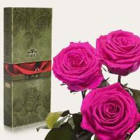 Три долгосвежие розы в подарочной упаковке FLORICH Малиновый Родолит (7 карат на коротком стебле)