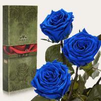 Три долгосвежие розы в подарочной упаковке FLORICH Синий Сапфир (7 карат на среднем стебле)
