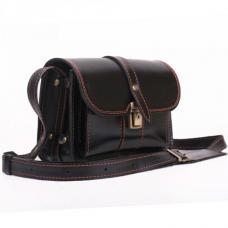 Кожаная барсетка ручной работы Manufatto Визитка 4 черная с коричневой нитью