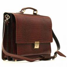 """Кожаный портфель ручной работы Manufatto ПАВ-20 """"Кроко"""" Brown"""