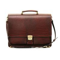 """Кожаный портфель ручной работы Manufatto ПАВ-25 """"Кроко"""" Brown"""