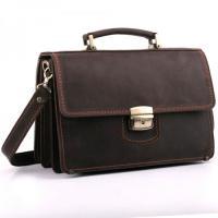 Кожаный малый портфель ручной работы Manufatto ПМ-2 Crazy Horse коричневый