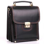 Кожаный планшет ручной работы Manufatto СПБ-1 черный с коричневой нитью