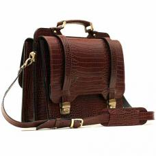 """Кожаный портфель ручной работы Manufatto СПС-3 """"Кроко"""" Brown"""