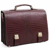 """Кожаный портфель ручной работы Manufatto ТМ-1 """"Кроко"""" Brown"""