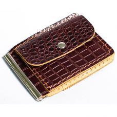 Зажим для денег из натуральной кожи Manufatto №1 кроко коричневый