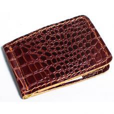 Кожаный зажим для денег Manufatto №2 кроко коричневый