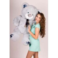 """Плюшевый медведь TeddyBoom """"Клетка"""" 130 см. серый"""